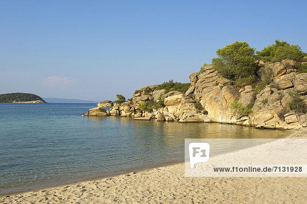 leer  Landschaftlich schön  landschaftlich reizvoll  Europa  Urlaub  Tag  europäisch  Strand  Küste  niemand  Reise  Meer  Sandstrand  Griechenland