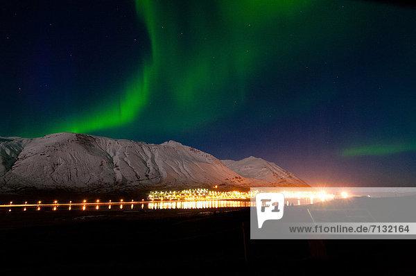 Europa  Berg  Natur  Polarlicht  Aurora  Island  Schnee