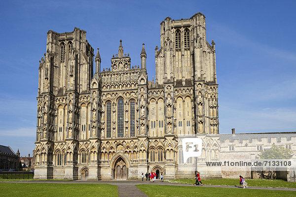 Europa  britisch  Großbritannien  Kathedrale  England  Somerset