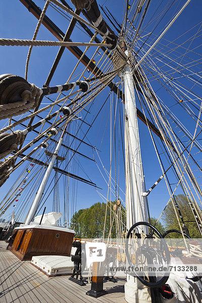 Europa  britisch  Großbritannien  London  Hauptstadt  Boot  Schiffsmast  Mast  Schiff  UNESCO-Welterbe  Cutty Sark  England  Greenwich