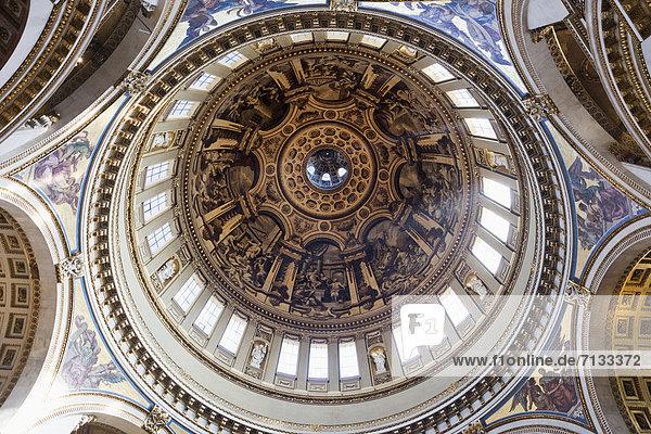 Kuppel  Europa  britisch  Großbritannien  London  Hauptstadt  Großstadt  Innenaufnahme  Kathedrale  St. Pauls Cathedral  Kuppelgewölbe  England