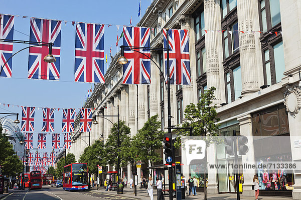 Union Jack  Britische Flagge  Britische Flaggen  Europa  britisch  Großbritannien  London  Hauptstadt  Fahne  Wimpel  England  Oxford Street