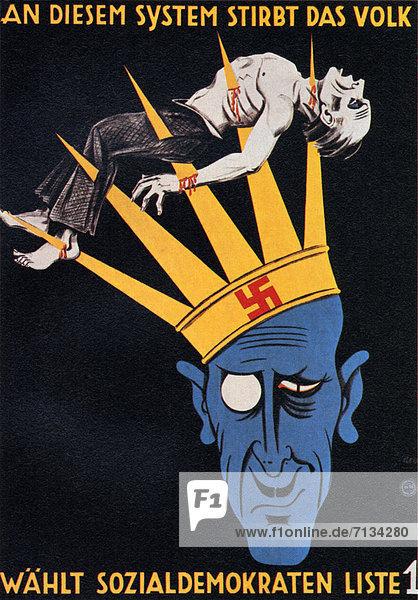 Sozialdemokratische Partei Deutschlands  SPD  Gefahr  Warnung  Poster  Deutschland  München Sozialdemokratische Partei Deutschlands, SPD ,Gefahr ,Warnung ,Poster ,Deutschland ,München