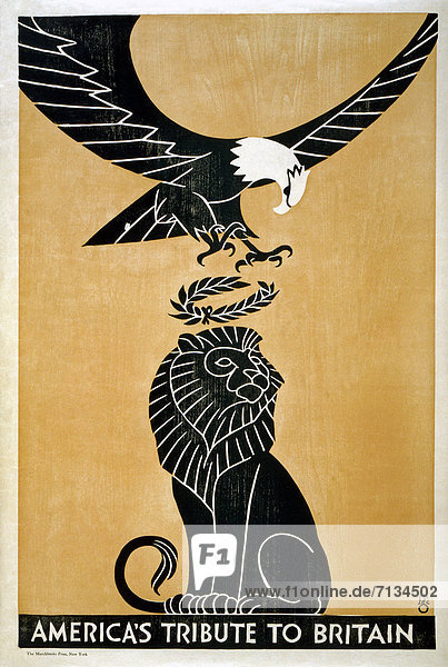 Vereinigte Staaten von Amerika  USA  Löwe  Panthera leo  Werbung  Sieg  Gewinn  Poster  amerikanisch  Blumenkranz  Kranz  Adler