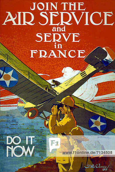 Vereinigte Staaten von Amerika  USA  Flugzeug  Frankreich  Verbindung  geben  Soldat  Poster  amerikanisch  Heer  Bewerbung