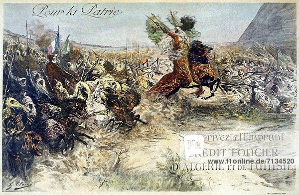 Frankreich  französisch  Kredit  fahren  Werbung  Poster  Schlacht