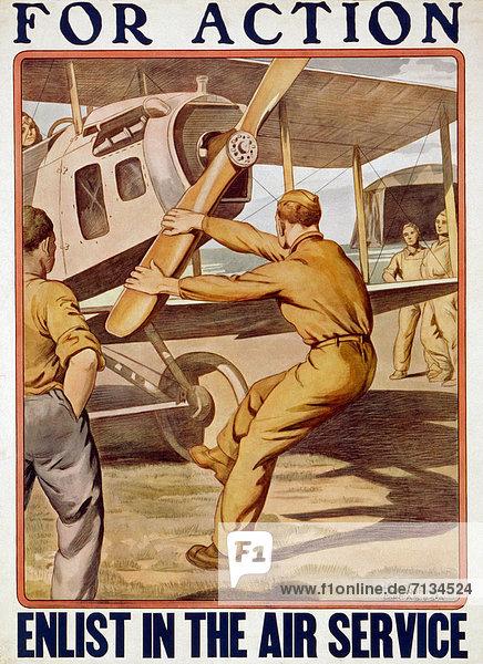 Flugzeug  Mann  Vereinigte Staaten von Amerika  USA  Aktion  Poster  drehen  Heer  Propeller
