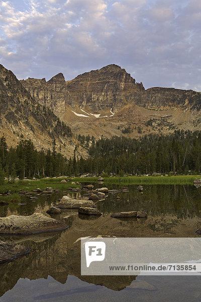 Vereinigte Staaten von Amerika  USA  Wasser  Berg  Amerika  Sommer  Sonnenaufgang  Teich  Spiegelung  See  Landschaftlich schön  landschaftlich reizvoll  Berggipfel  Gipfel  Spitze  Spitzen  unbewohnte  entlegene Gegend  Rocky Mountains  Reflections