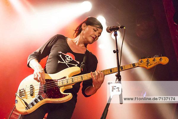 Bice Aeberli  bass player of the Swiss band Baby Jail playing live at the Schueuer  Luzern  Switzerland  Europe