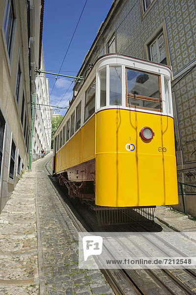Lissabon Hauptstadt Reise Hügel Stadt Straßenbahn Europa Seilbahn Portugal