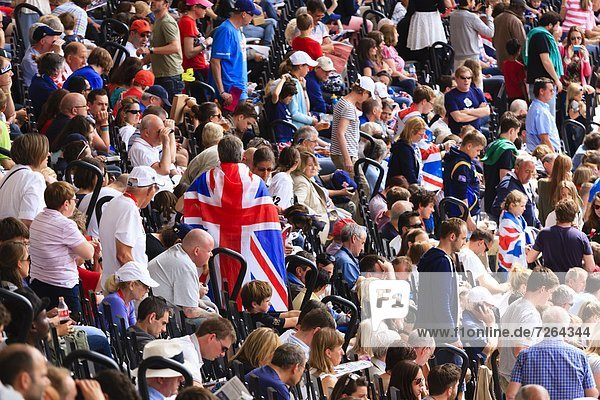 Crowd of British spectators with Union flags in a sports arena  London  England  United Kingdom  Europe