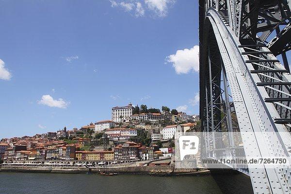 The Dom Luis I Bridge spans the River Douro to the Ribeira District UNESCO World Heritage Site  Porto  Douro  Portugal  Europe