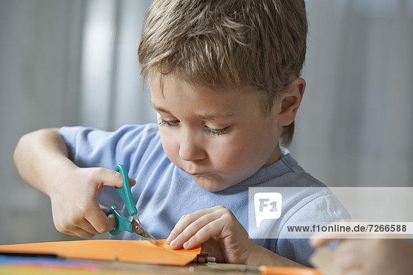 Schere  Papier  Junge - Person  schneiden  jung