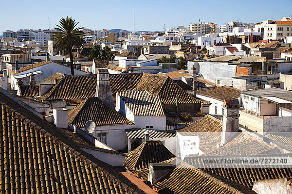 View over the rooftops of Faro  Algarve  Portugal  Europe