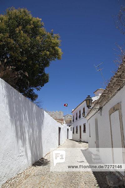 Landstraße Europa Gebäude gekalkt Algarve Loule Portugal