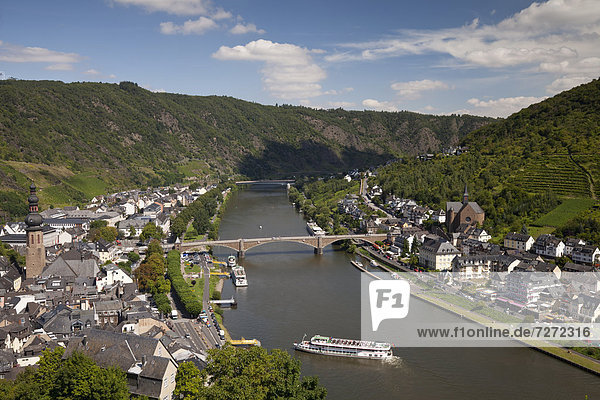 View from the Tummelchen on the town and the Moselle river valley  Cochem  Moselle  Rhineland-Palatinate  Germany  Europe  PublicGround