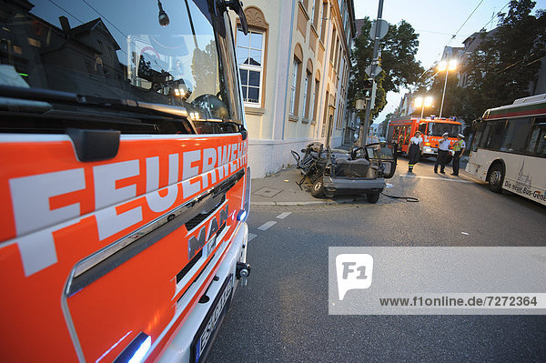 Severe road traffic accident between a Renault Twingo and a public transport bus  wreckage of the Renault Twingo  Esslingen  Baden-Wuerttemberg  Germany  Europe