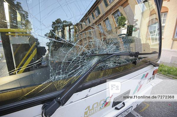 A public transport bus damaged in an accident  Esslingen  Baden-Wuerttemberg  Germany  Europe