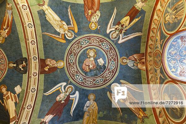 Katholisches Christentum  kunstvolles Deckengemälde  Fresko  Heiliger Benedikt von Nursia  Benediktinerabtei  Kloster San Benedetto  Sacro Speco  Heilige Grotte  Subiaco  Latium  Italien  Südeuropa  Europa