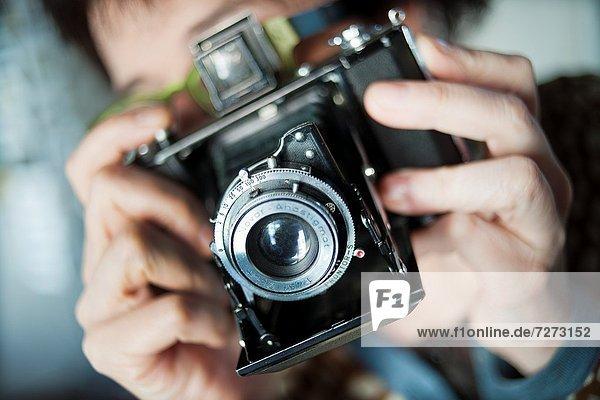 hoch  oben  nahe  Mensch  Unehrlichkeit  fotografieren  Fotoapparat  Kamera  alt