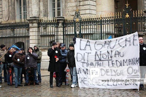Frankreich  arbeiten  Rebellion  Lyon  Polizei  Sonntag