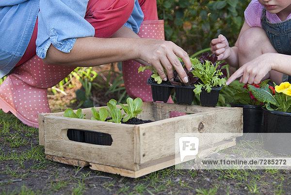 Mutter und Tochter bei der gemeinsamen Gartenarbeit