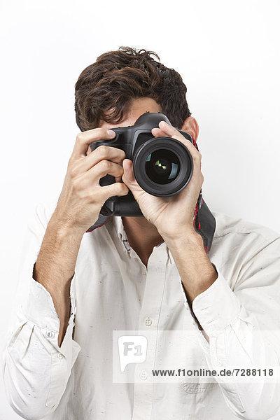 Mann  Lifestyle  Fotografie  nehmen  weiß  Retro  Hintergrund  jung