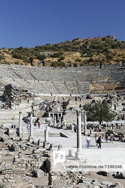 Great Theatre  UNESCO World Heritage Site  Ephesus  Ephesos  Efes  Izmir  Turkish Aegean  western Turkey  Turkey  Asia