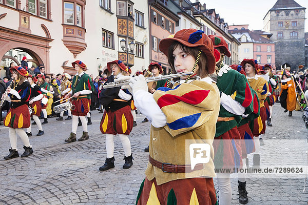 Traditional Swabian-Alemannic carnival characters  Rottweil Carnival  Rottweil  Black Forest  Baden-Wuerttemberg  Germany  Europe