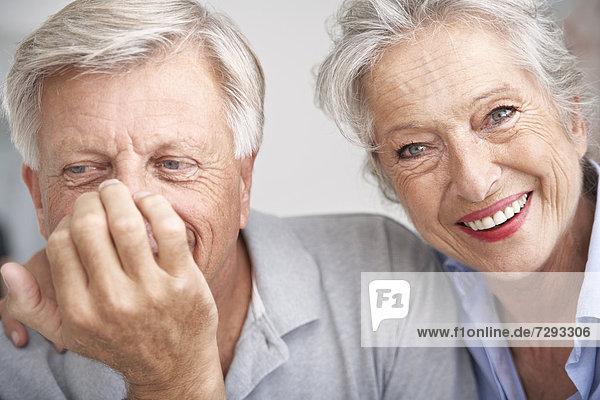 Spain  Senior couple smiling  close up