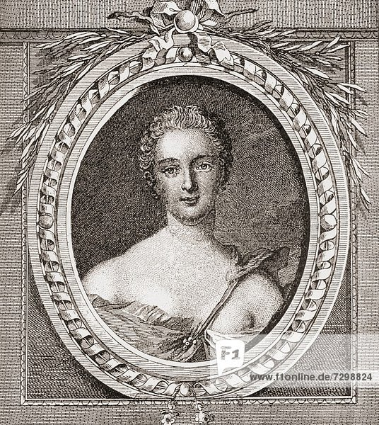 Jeanne Antoinette Poisson  Marquise de Pompadour aka Madame de Pompadour  1721 – 1764 Member of the French court and official chief mistress of Louis XV From Les Heures Libres published 1908