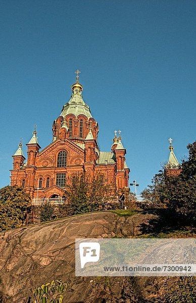 Helsinki  Hauptstadt  Stein  Schönheit  Ziegelstein  Kirche  Kathedrale  rot  russisch orthodox  russisch-orthodox  Finnland  russisch