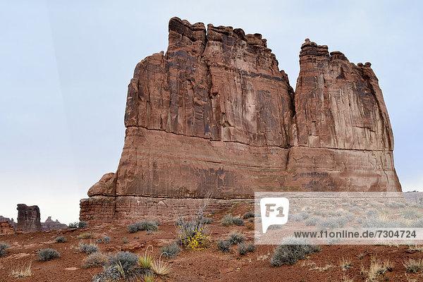 The Organ  Felsformation aus rotem Sandstein  Arches National Park  Moab  Utah  USA