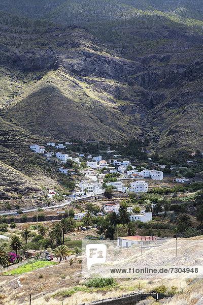 Europa Dorf Ansicht Kanaren Kanarische Inseln Gran Canaria Spanien