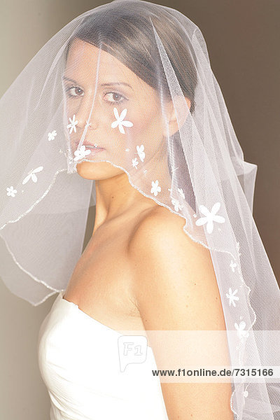 Young woman  24 years  in bridal outfit