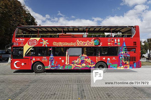 Sightseeing bus in Istanbul  Turkey  Europe