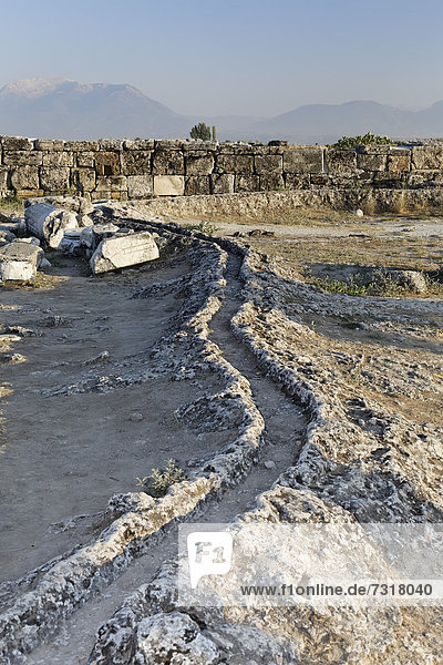 Water channeling system at the ancient excavation site of Hierapolis  Hieropolis  near Pamukkale  Denizli  Western Turkey  Turkey  Asia
