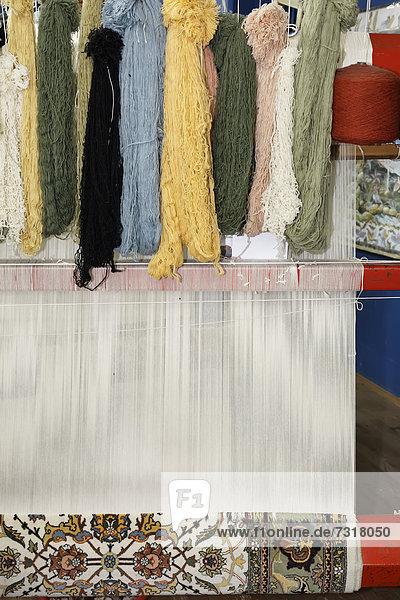 Carpet factory  loom with wool  Antalya  Turkey  Asia