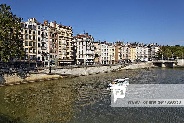 Frankreich Europa Fluss Hausboot Lyon