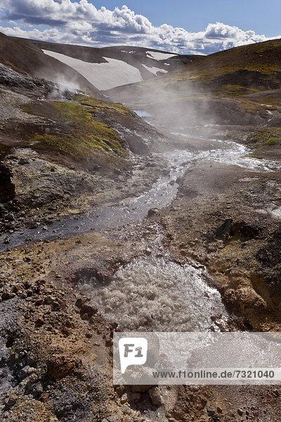 Heiße Quelle  Fumarolen  Landmannalaugar  Island  Europa