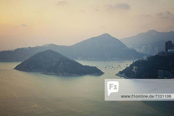 Sonnenuntergang  Hong Kong Island  Hong Kong  China