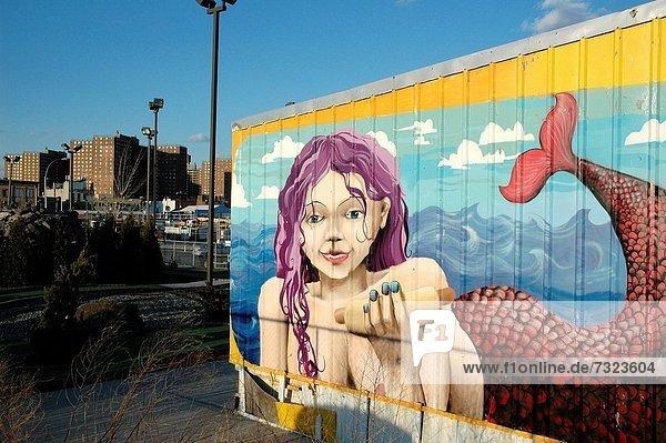 Hot Dog Hot Dogs New York City Insel veröffentlichen Brooklyn Graffiti Meerjungfrau