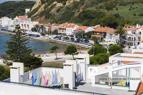 The view from Largo Comendador Jose Bento da Silva  Sao Martinho do Porto  Alcobaca  Oeste  Leiria District  Portugal  Europe