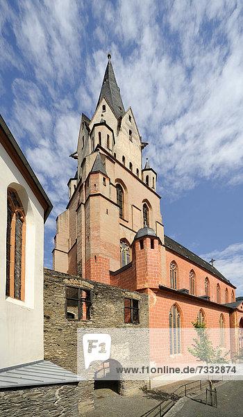 Katholische Liebfrauenkirche,  Oberwesel,  Rheinland-Pfalz,  Unesco Weltkulturerbe Oberes Mittelrheintal,  Deutschland,  Europa