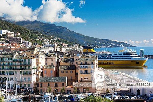 France  Corsica  Haute-Corse Department  Le Cap Corse  Bastia  The Old Port  elevated view