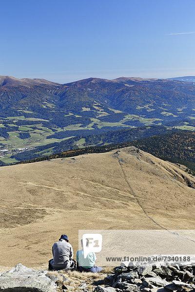 View from Zirbitzkogel mountain across the valley towards Obdach  Seetal Alps  Styria  Austria  Europe