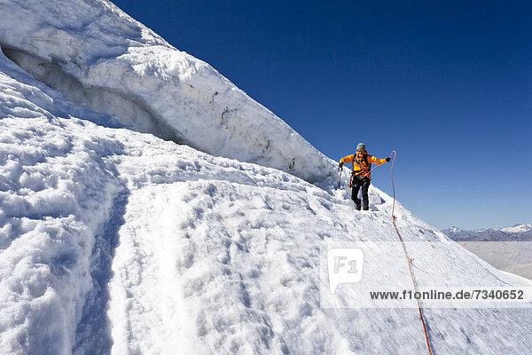 Bergsteiger bei der Randspalte  beim Abstieg vom Monte Cevedale  Südtirol  Italien  Europa Bergsteiger bei der Randspalte, beim Abstieg vom Monte Cevedale, Südtirol, Italien, Europa