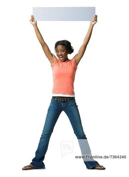 hoch  oben  Portrait  Frau  halten  Zeichen  jung  unbeschrieben  Signal