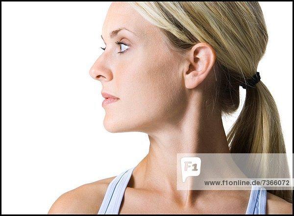 Frau  sehen  jung  Seitenansicht