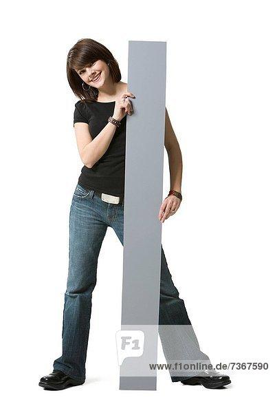 Portrait  Frau  halten  Reklameschild  jung
